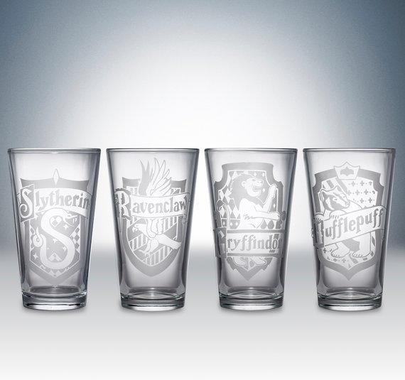 harry potter house logos pint glass set from partywareinc on etsy