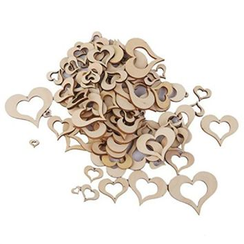 100pcs Wedding Decor Wooden Blank Hollow Heart Embellishments DIY Crafts Accessory Party Decoration 10mm-50mm