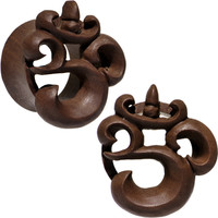 "1"" Organic Wood Om Hand Carved Plug Set 