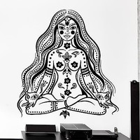 Wall Decal Buddha Chakra Meditation Girl Woman Mantra Vinyl Sticker (z2874)