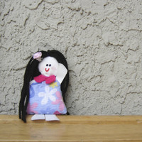 Handmade doll. Recycled fabric doll. Small doll. Micro toy. Girl doll toy. Soft handmade doll. Black hair doll.