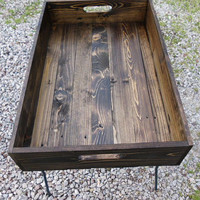 Wooden Serving Tray With Jacobean Finish