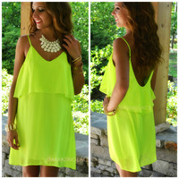 Highlands Neon Lime Layered Tank Dress