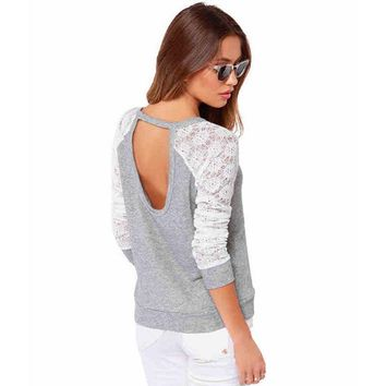 Long Sleeve Lace Patchwork Embroidery Backless Shirt