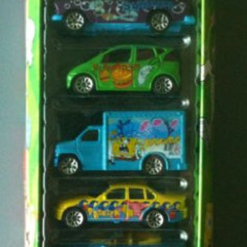 RARE RETIRED MATCHBOX SPONGEBOB SQUAREPANTS 5 PACK CAR SET, SQUIDWARD, PLANKTON, SPONGEBOB, PATRICK AND SANDY DIE-CAST CARS