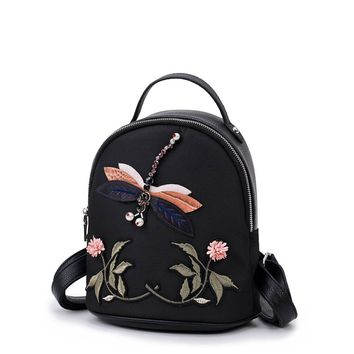 Beaded Dragonfly Design Flower Embroidery Backpack