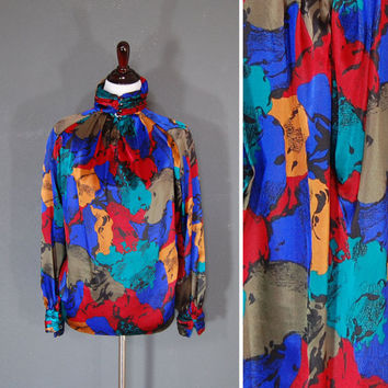 1980's Floral Print Blouse / Secretary Blouse / Multicolored Floral Pattern / Size 10