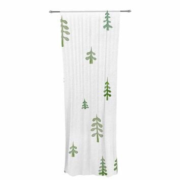 """Jennifer Rizzo """"Watercolor Pine Trees"""" Green White Nature Abstract Watercolor Painting Decorative Sheer Curtain"""