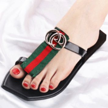 GUCCI summer beach flip flop female sandals black stripes casual clip flat sandals and slippers F0325-1 Green