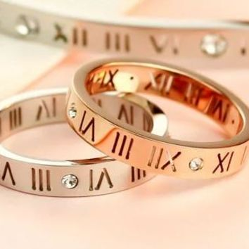 Women's Fashion jewelry elegant hollow out Roman numerals rose gold plating titanium steel ring