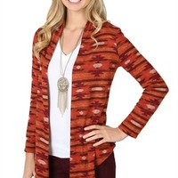 Knit Aztec Print Cardigan with Drape Front