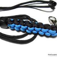 Mens Paracord Lanyard Id Holder in Black and Blue Seven Strand Military Grade 550 Cord Handmade Breakaway and Cord Adjuster