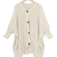 Beige  Irregular Button Loose Cardigan $41.00