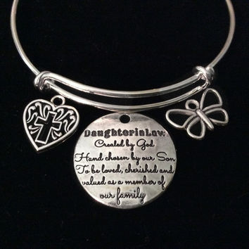 Daughter In Law Heart Expandable Charm Bracelet Silver Adjustable Bangle Meaningful Gift