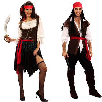 Women Men Pirates Jack Sparrow Adult Costume Masquerade Cosplay Carnival Halloween Costume Birthday Female Party