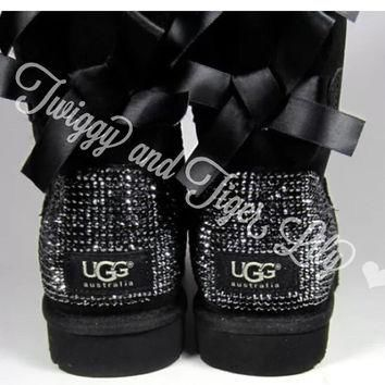 Crystal Bling Ugg Bailey Bow Boots made with Genuine Swarovski Crystals in Jet Hematit