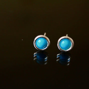 Turquoise stud Earrings, Small Studs, December birthstone earrings, sterling silver studs