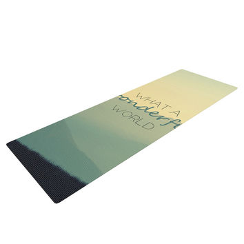 "Robin Dickinson ""What A Wonderful World"" Teal Tan Yoga Mat"