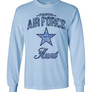 Proud Air Force Aunt Long-Sleeve T-Shirt (Camo)