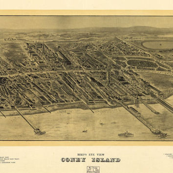 Coney Island, New York NY (1906)- Beautiful Print=(Antique,Vintage,Old) =Map is Perfect for Framing!