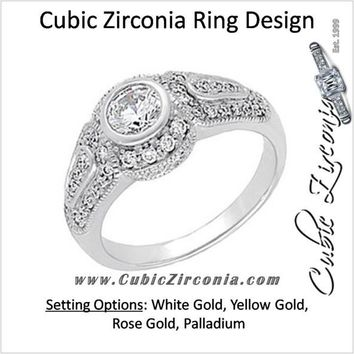 Cubic Zirconia Engagement Ring- The Beth (0.5 Carat Round Bezel-Set Vintage Design with Accent Stones)