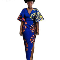 African Dresses Women Short Sleeve Maxi Dress Bazin 6XL Plus Size African Clothing Sexy Dress African Print Clothing BRW WY764