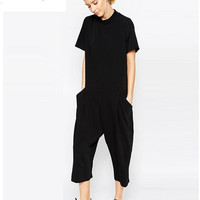 new black rompers womens jumpsuit seven big jumpsuit side pocket loose-fitting jumpsuits romper overalls for women