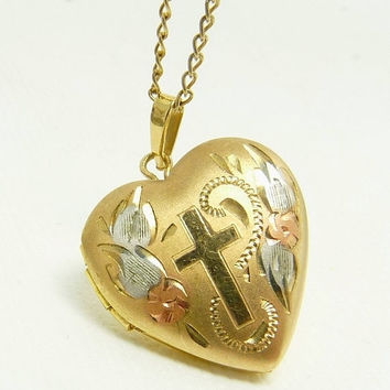 Vintage Cross Heart Locket 14K Tri Gold Filled Picture Locket