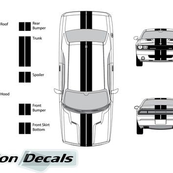 "Dodge Challenger 2008 Dual 8"" Rally Racing Stripes Vinyl Decal Kit"