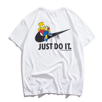 NIKE Just Do IT Fashion New Summer Letter Hook Anime Print Women Men Top T-Shirt White