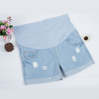 2016 Summer Fashion Denim Shorts Hold Up Belly Capris Pants Pregnancy Wear Shorts Maternity Clothing