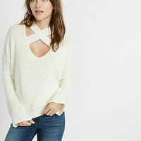 flare sleeve crisscross choker sweater