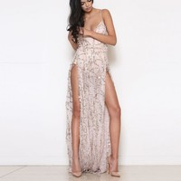 Spaghetti Straps Deep V-neck Sequins Backless Split Long Party Dress