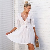 V Neck White Lace Half Sleeve Tie Up Casual Button Winter Dress