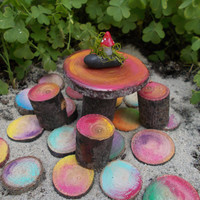 Colorful Rainbow Sliced Wood Stepping Stones