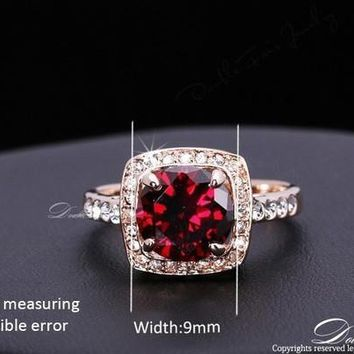 Red Rhinestone Paved CZ Diamond Vintage Finger Ring 18K Gold Plated Fashion Imitation Gemstone Jewelry For Women