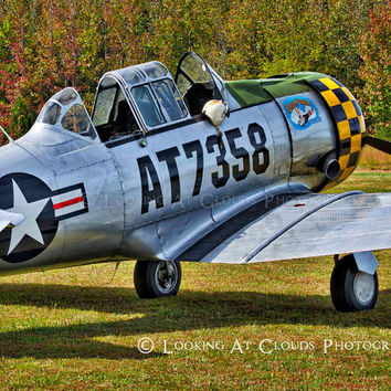 T-6 with nose art aviation photograph, colorful vintage airplane art, pilots gift, SNJ Texan