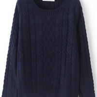 Navy Long Sleeve Knit Sweater