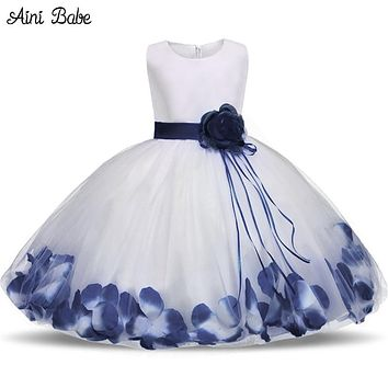 Aini Babe Toddler Girl Baptism Dress Christmas Costume Petals Baby Girl Dress 1 Year Birthday Gift Kids Party Wear Tulle Dresses
