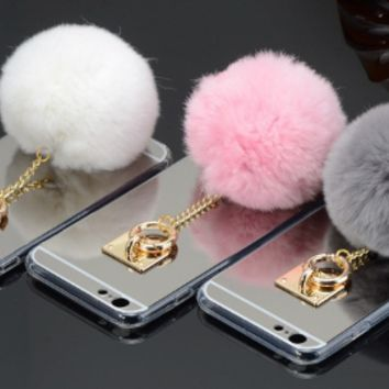 Mirror pom pom Fur Ball Phone Case iphone