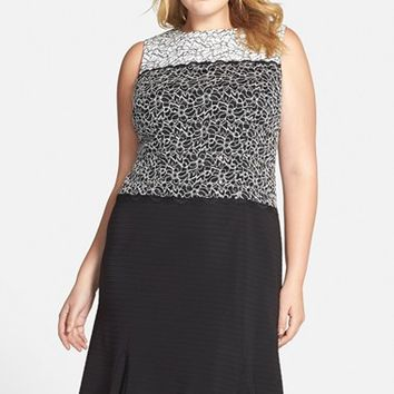 Plus Size Women's Alex Evenings Mock Two-Piece Dress with Godets,
