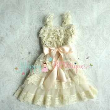 Flower Girl Dress, Champagne Bow Chiffon lace dress, Rustic dress,Country wedding,Baby Girls Dress,Ivory dress, 1st Birthday dress,Toddler