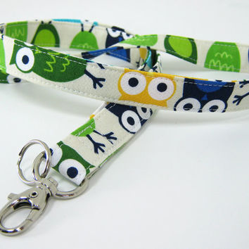 Fabric Lanyard - ID Badge and Key Ring - Robert Kaufmann Owls