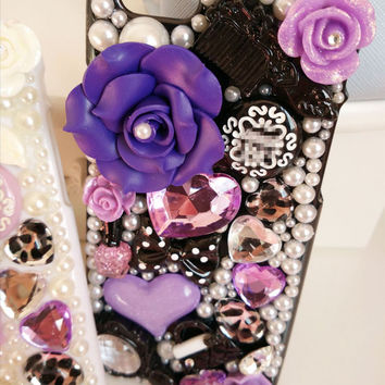 Handmade Crystal Cell Phone Case for iPhone 6 for iPhone 6s Pink Purple and White Color