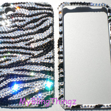 Tiny 12ss Zebra Stripe Design Crystal Diamond Rhinestone BLING 2 Piece Case for Apple iPhone 4 4G 4S made with Swarovski Elements