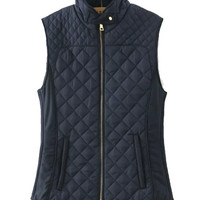 Navy Blue / Cream White Quilted Puffer Vest