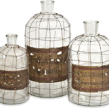 Dimora Wire Caged Bottles - Set of 3 - Free Shipping!