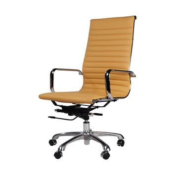 Eames Style Aluminum Group Executive Chair, Brown