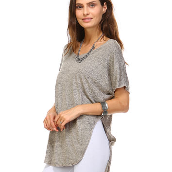 Mocha Melange Carrie V-Neck Tunic