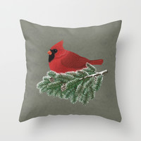 Cardinal Throw Pillow by Sam Magee